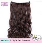 * 5 CSATOS hajhosszabbítás, PÓTHAJ, HULLÁMOS SÖTÉT-BARNA, 55 cm.