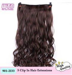 * 5 CSATOS hajhosszabbítás, PÓTHAJ, HULLÁMOS CSOKI-BARNA, 60 cm.